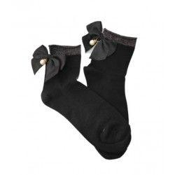 Women Glitter Bow Socks